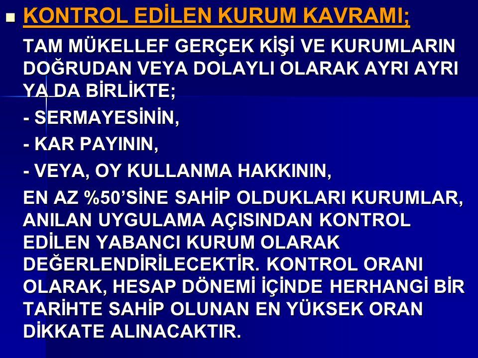 KONTROL EDİLEN KURUM KAVRAMI;