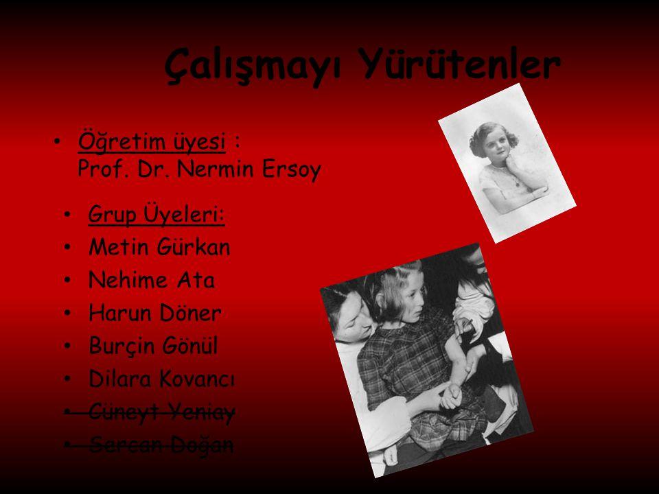 Çalışmayı Yürütenler Öğretim üyesi : Prof. Dr. Nermin Ersoy