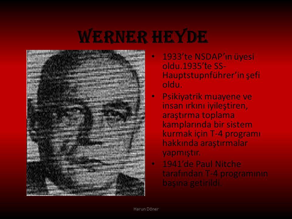 WERNER HEYDE 1933'te NSDAP'ın üyesi oldu.1935'te SS-Hauptstupnführer'in şefi oldu.