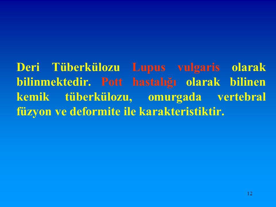 Deri Tüberkülozu Lupus vulgaris olarak bilinmektedir