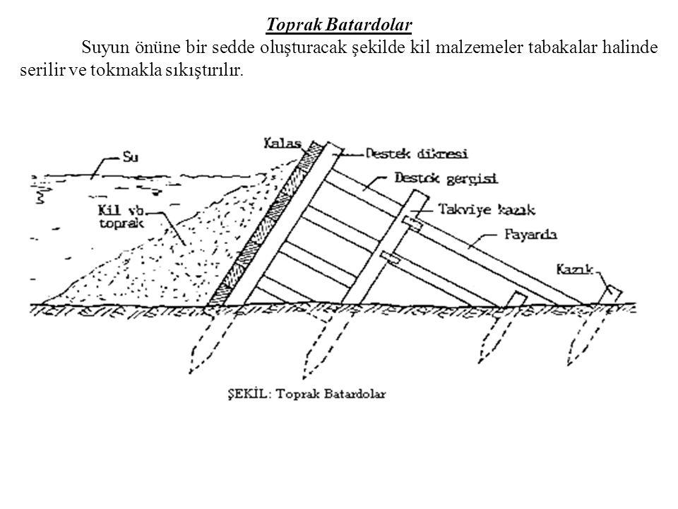 Toprak Batardolar Suyun önüne bir sedde oluşturacak şekilde kil malzemeler tabakalar halinde serilir ve tokmakla sıkıştırılır.