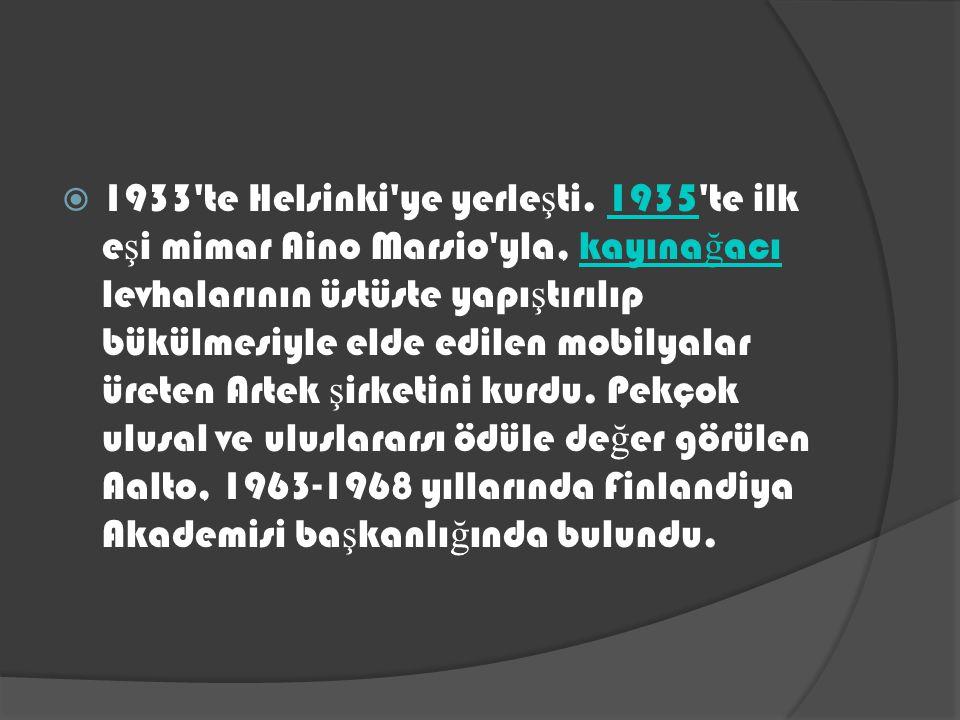 1933 te Helsinki ye yerleşti