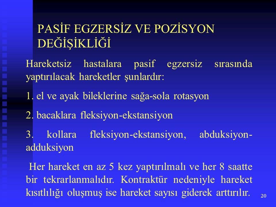 PASİF EGZERSİZ VE POZİSYON DEĞİŞİKLİĞİ