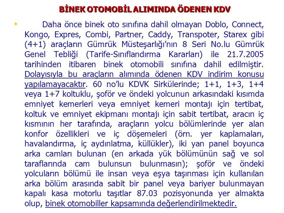 BİNEK OTOMOBİL ALIMINDA ÖDENEN KDV