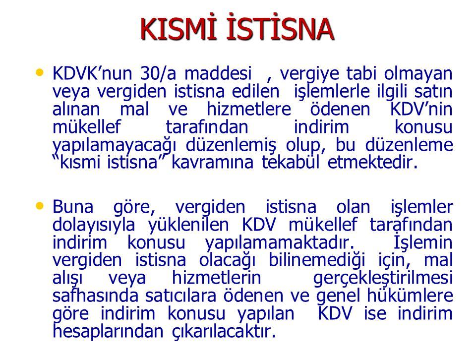 KISMİ İSTİSNA