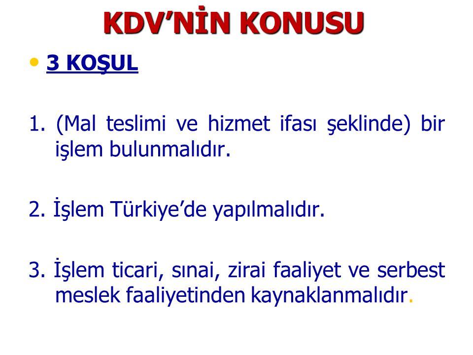KDV'NİN KONUSU 3 KOŞUL. 1. (Mal teslimi ve hizmet ifası şeklinde) bir işlem bulunmalıdır. 2. İşlem Türkiye'de yapılmalıdır.