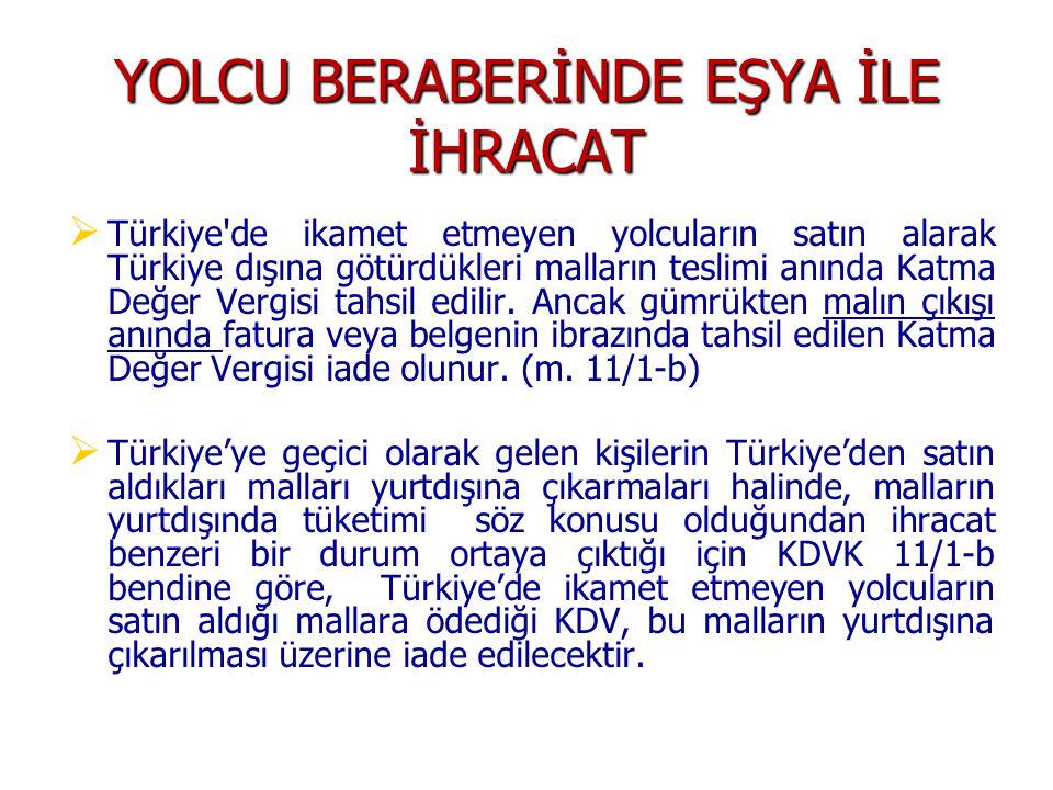 YOLCU BERABERİNDE EŞYA İLE İHRACAT