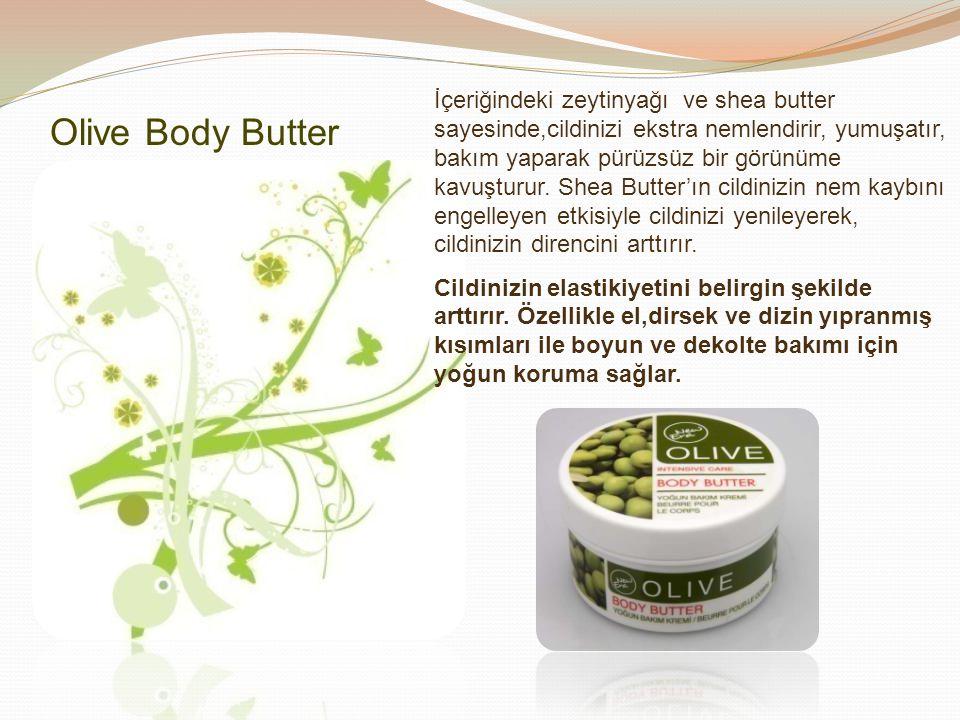 İçeriğindeki zeytinyağı ve shea butter sayesinde,cildinizi ekstra nemlendirir, yumuşatır, bakım yaparak pürüzsüz bir görünüme kavuşturur. Shea Butter'ın cildinizin nem kaybını engelleyen etkisiyle cildinizi yenileyerek, cildinizin direncini arttırır.