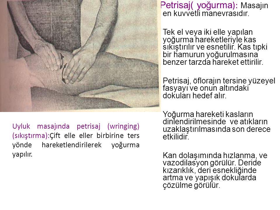 Petrisaj( yoğurma): Masajın en kuvvetli manevrasıdır.