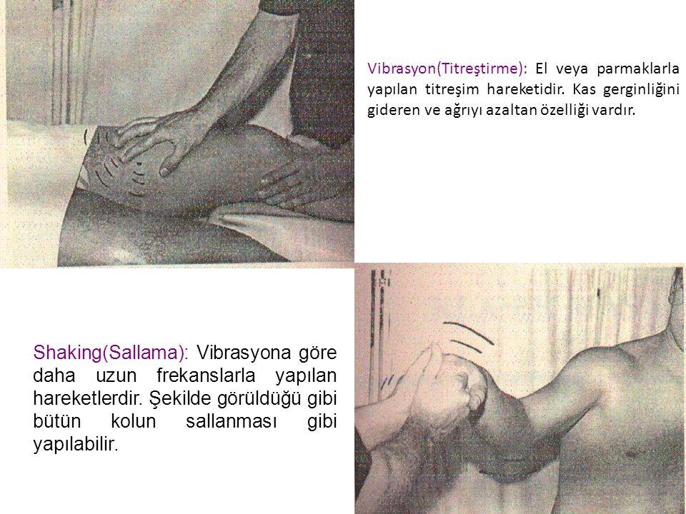 Vibrasyon(Titreştirme): El veya parmaklarla yapılan titreşim hareketidir. Kas gerginliğini gideren ve ağrıyı azaltan özelliği vardır.