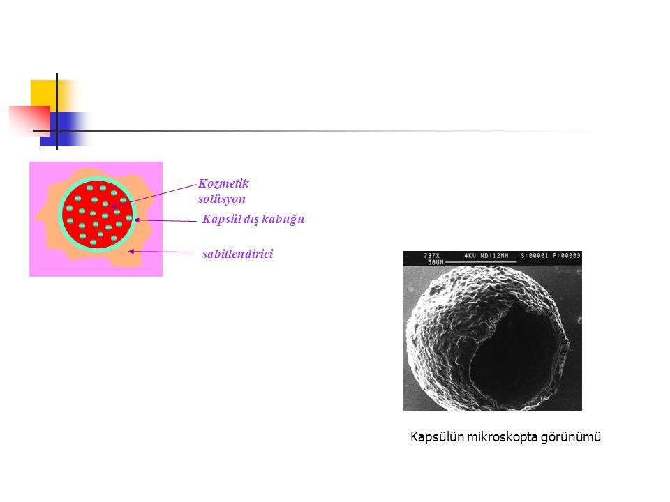 Kozmetik solüsyon Kapsül dış kabuğu sabitlendirici Kapsülün mikroskopta görünümü