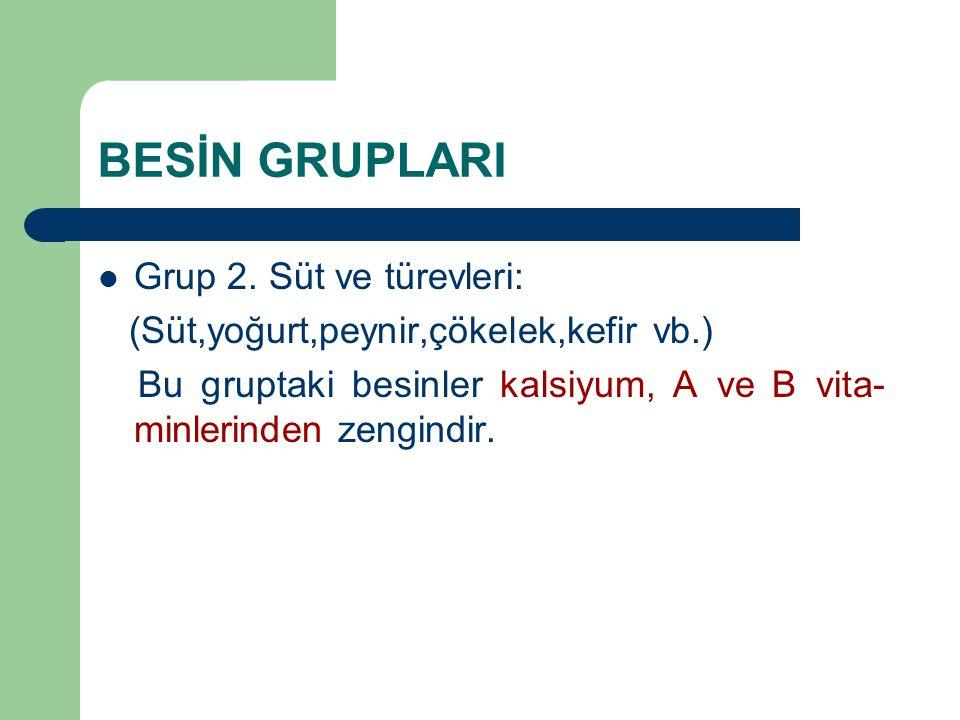 BESİN GRUPLARI Grup 2. Süt ve türevleri: