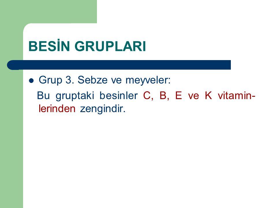 BESİN GRUPLARI Grup 3. Sebze ve meyveler: