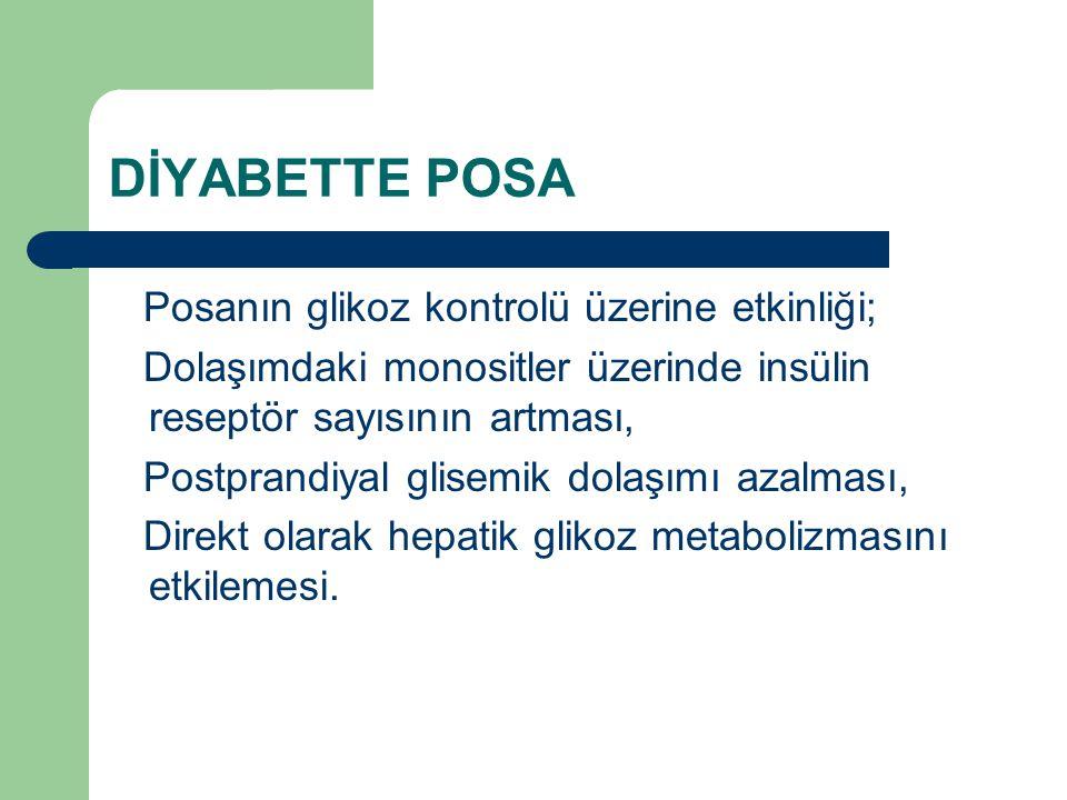 DİYABETTE POSA Posanın glikoz kontrolü üzerine etkinliği;