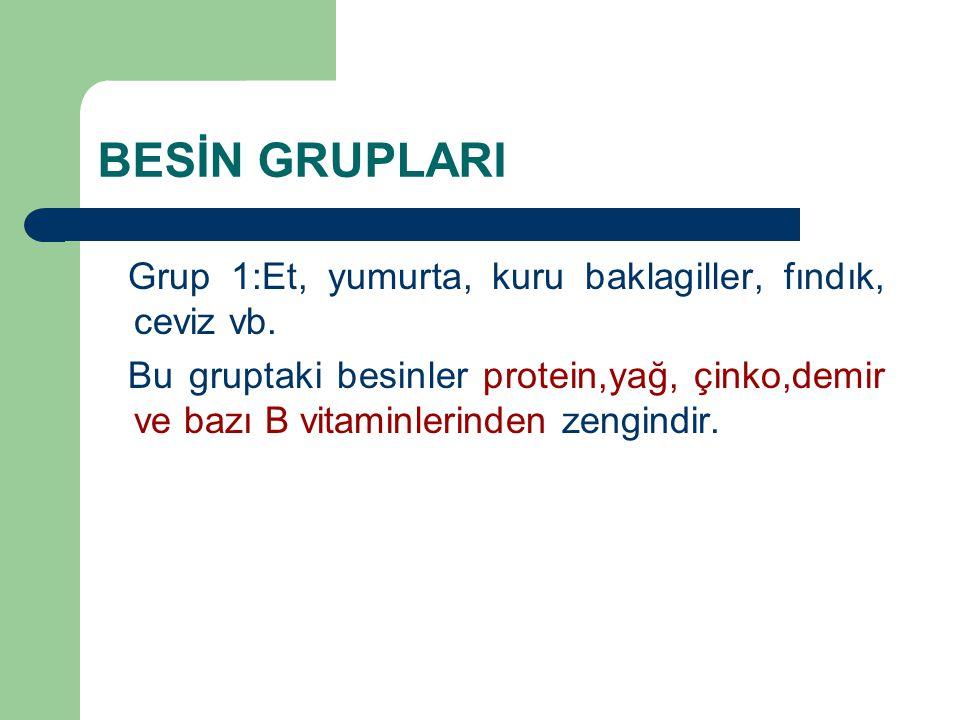 BESİN GRUPLARI Grup 1:Et, yumurta, kuru baklagiller, fındık, ceviz vb.