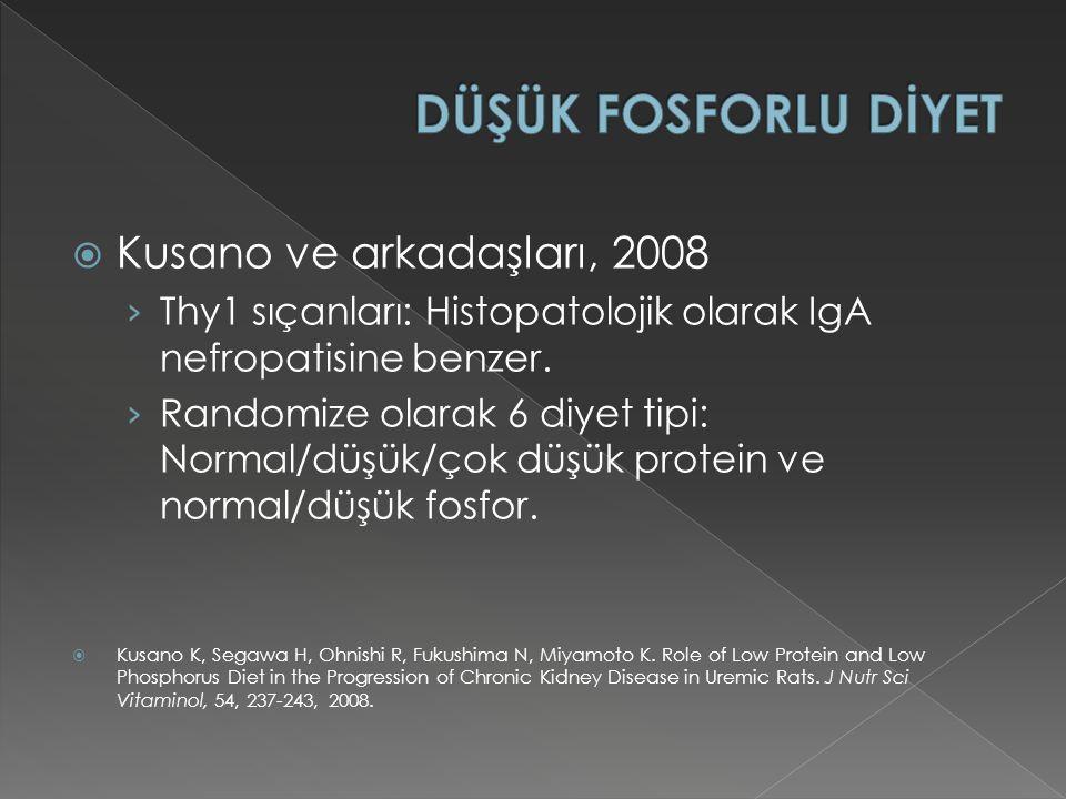 DÜŞÜK FOSFORLU DİYET Kusano ve arkadaşları, 2008