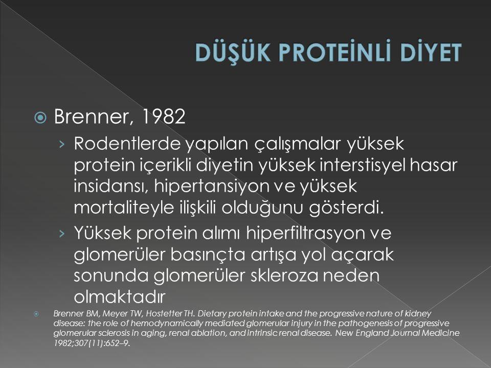 DÜŞÜK PROTEİNLİ DİYET Brenner, 1982