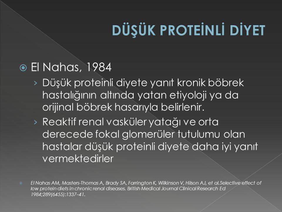DÜŞÜK PROTEİNLİ DİYET El Nahas, 1984
