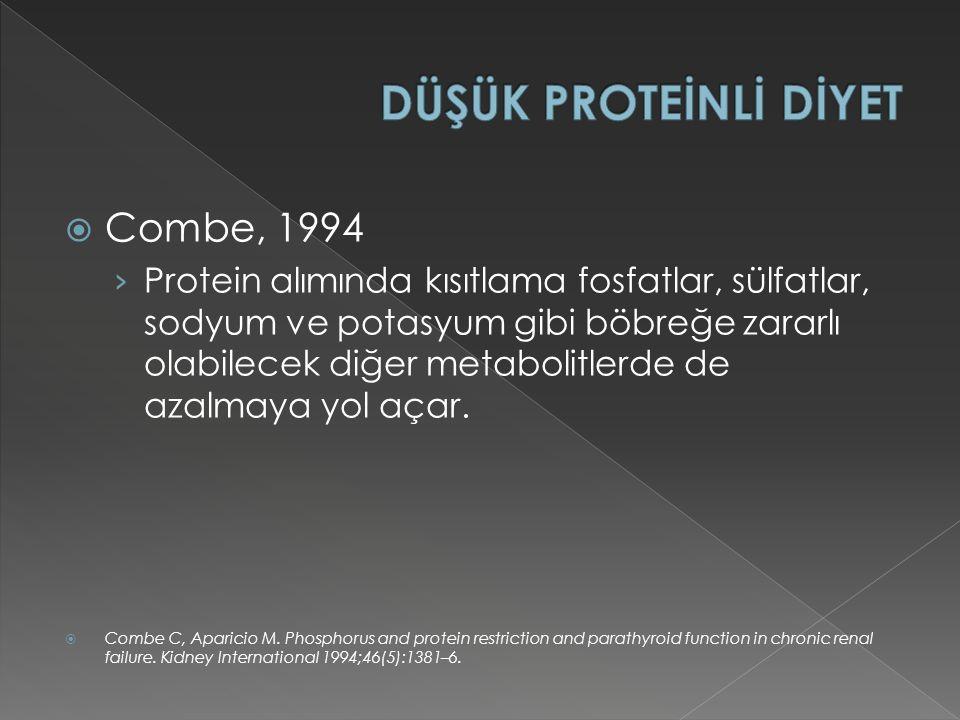 DÜŞÜK PROTEİNLİ DİYET Combe, 1994