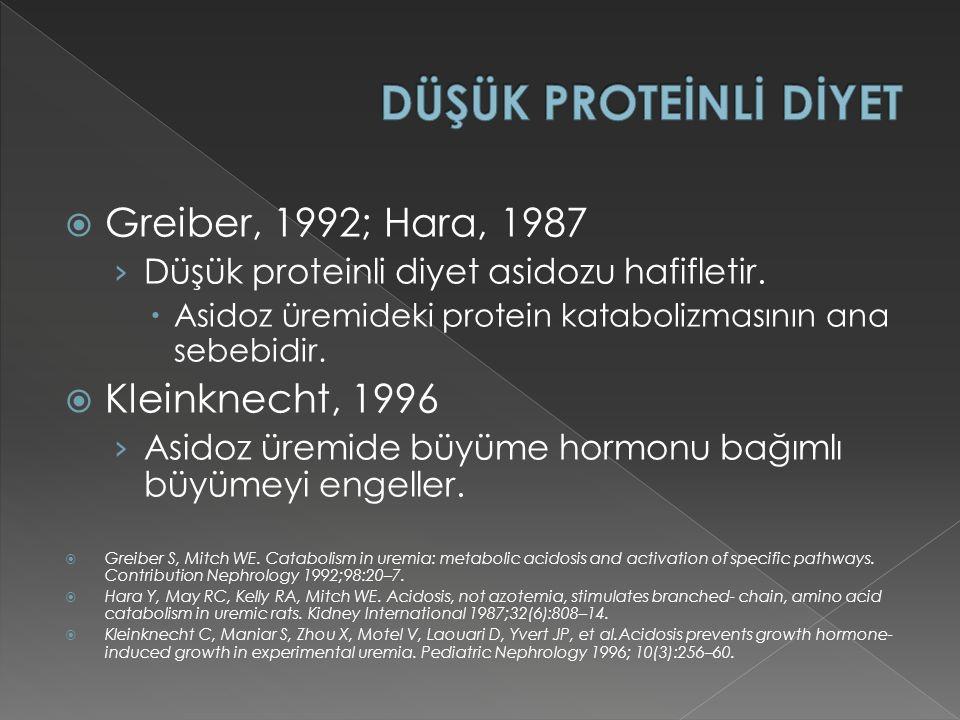 DÜŞÜK PROTEİNLİ DİYET Greiber, 1992; Hara, 1987 Kleinknecht, 1996