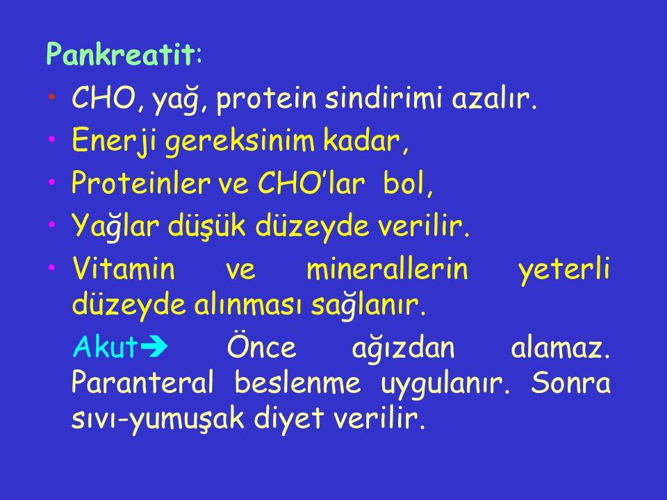 Pankreatit: CHO, yağ, protein sindirimi azalır. Enerji gereksinim kadar, Proteinler ve CHO'lar bol,