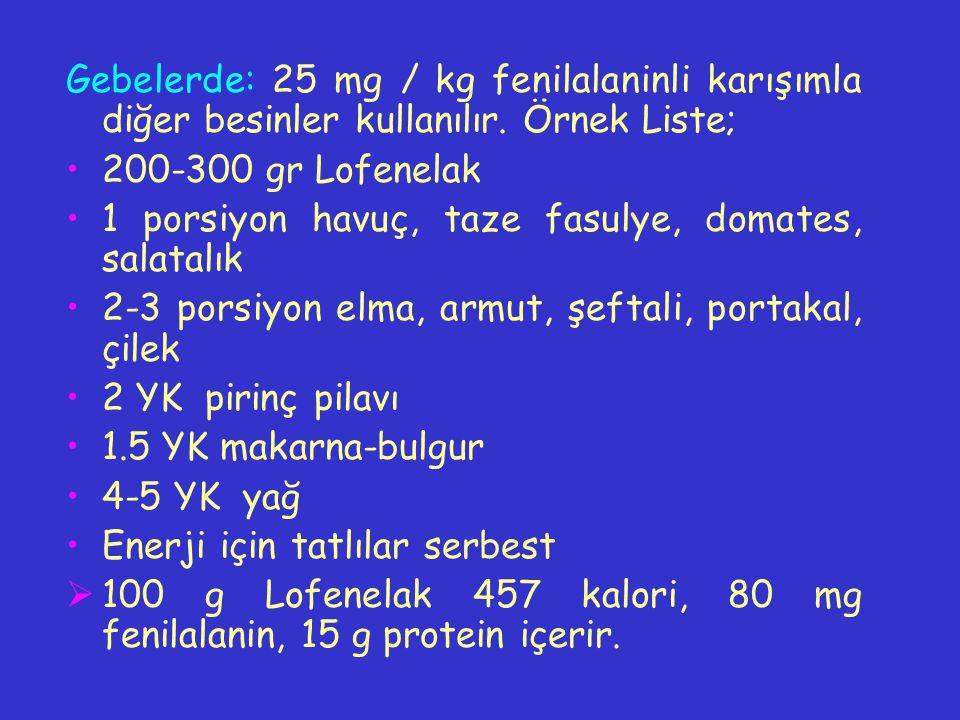 Gebelerde: 25 mg / kg fenilalaninli karışımla diğer besinler kullanılır. Örnek Liste;
