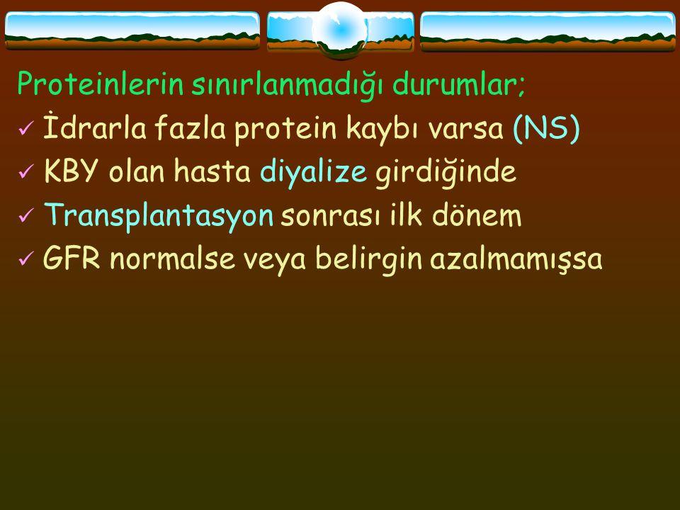 Proteinlerin sınırlanmadığı durumlar;