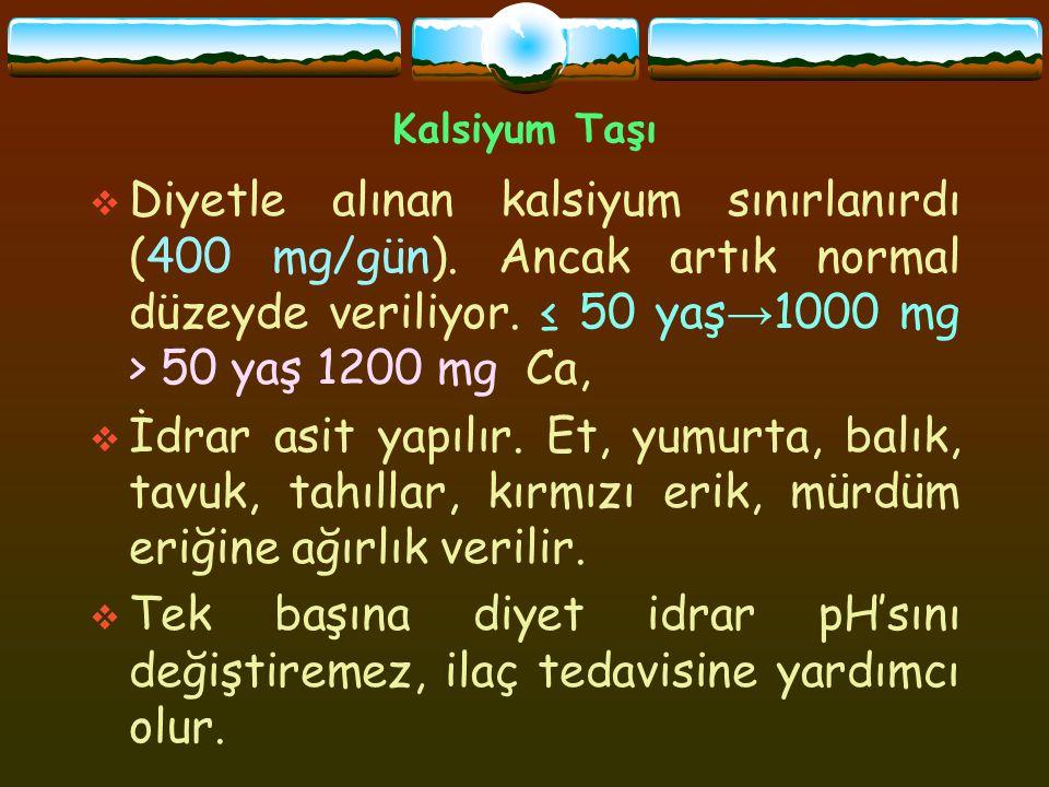 Kalsiyum Taşı Diyetle alınan kalsiyum sınırlanırdı (400 mg/gün). Ancak artık normal düzeyde veriliyor. ≤ 50 yaş→1000 mg > 50 yaş 1200 mg Ca,