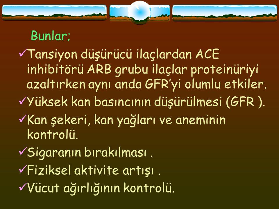Bunlar; Tansiyon düşürücü ilaçlardan ACE inhibitörü ARB grubu ilaçlar proteinüriyi azaltırken aynı anda GFR'yi olumlu etkiler.