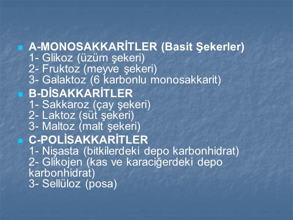 A-MONOSAKKARİTLER (Basit Şekerler) 1- Glikoz (üzüm şekeri) 2- Fruktoz (meyve şekeri) 3- Galaktoz (6 karbonlu monosakkarit)