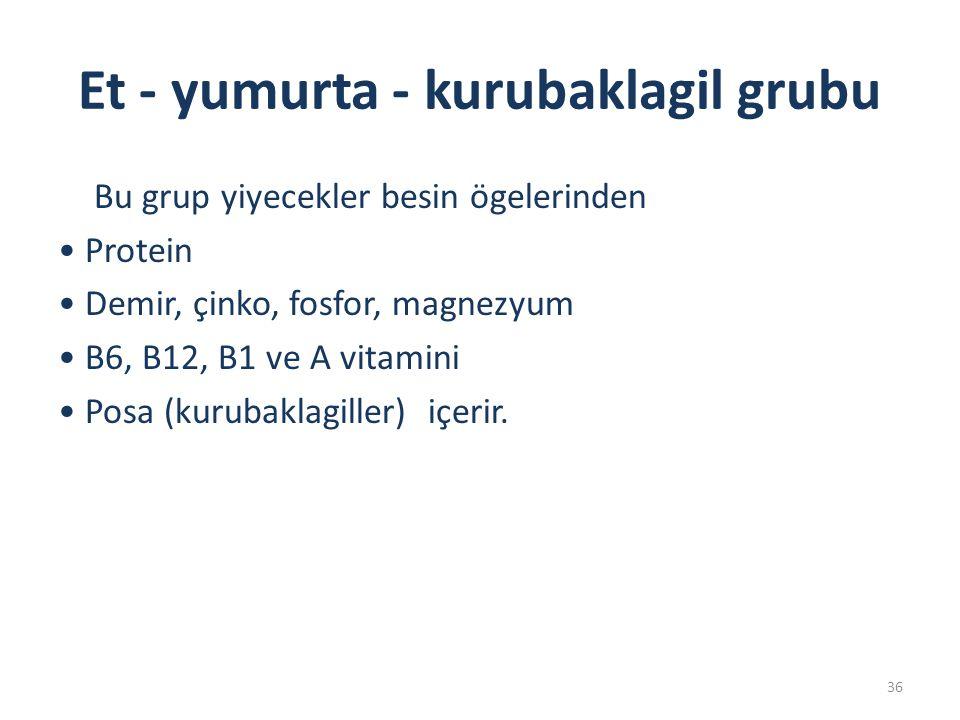 Et - yumurta - kurubaklagil grubu