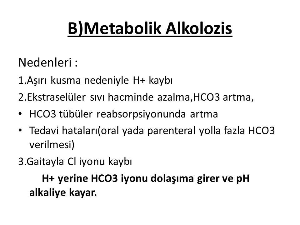 B)Metabolik Alkolozis
