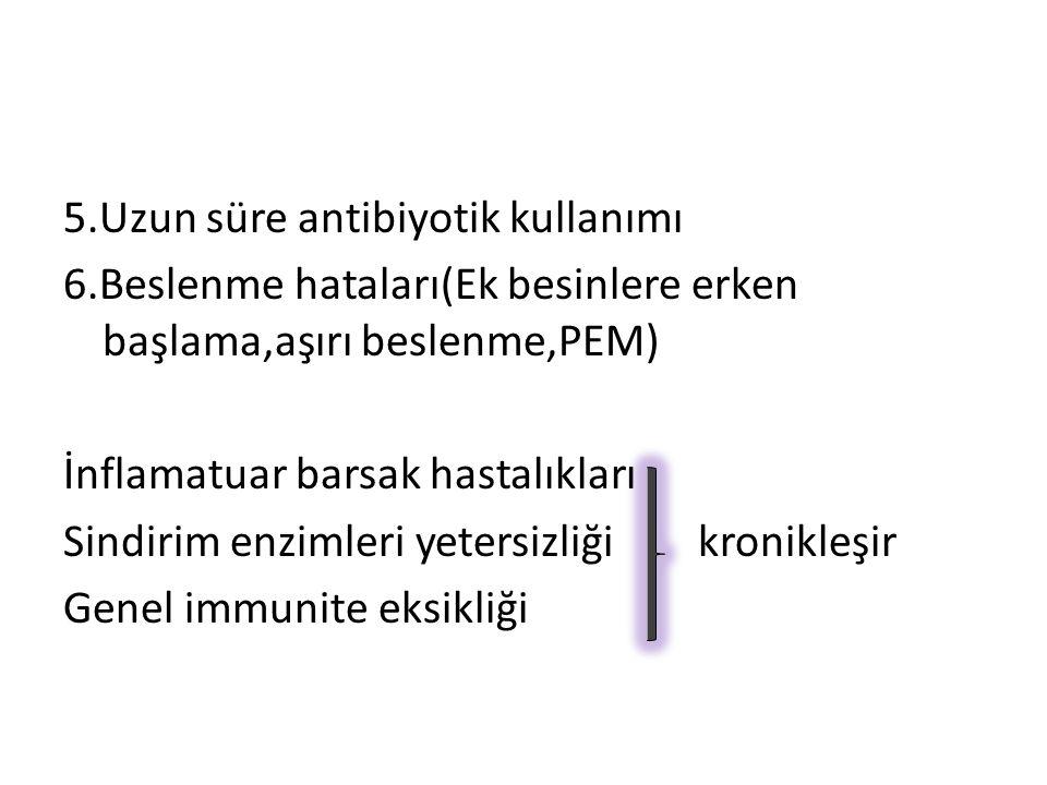 5. Uzun süre antibiyotik kullanımı 6