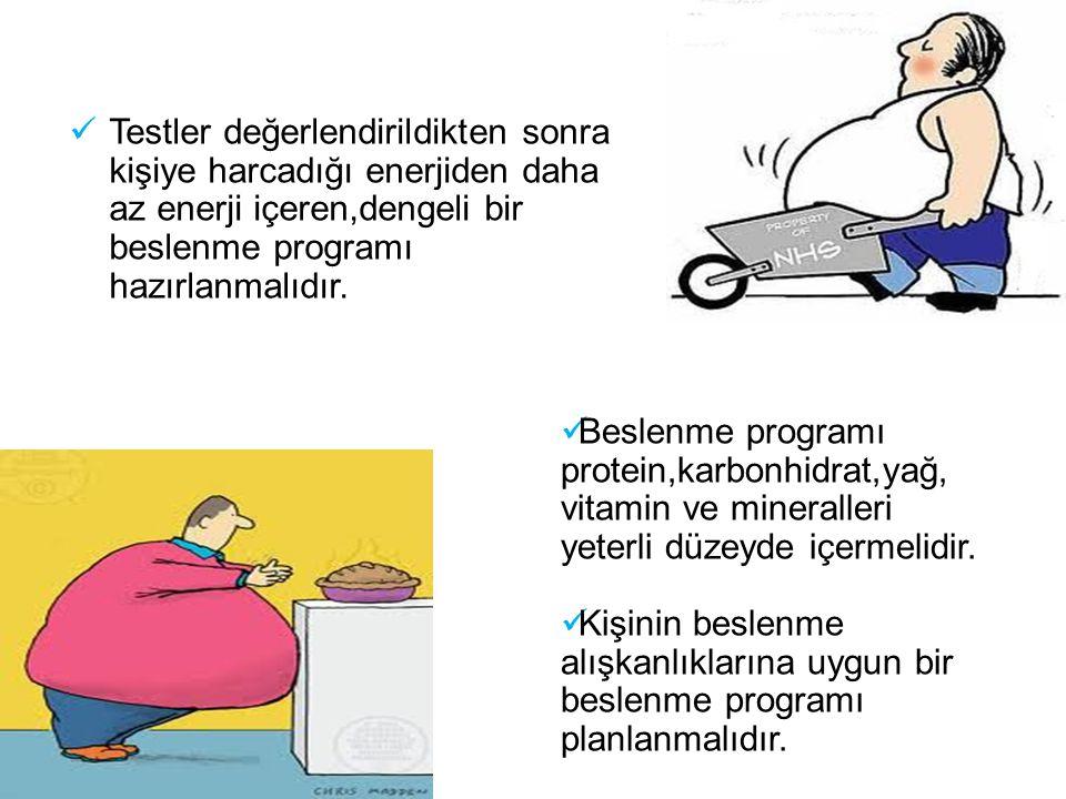 Testler değerlendirildikten sonra kişiye harcadığı enerjiden daha az enerji içeren,dengeli bir beslenme programı hazırlanmalıdır.