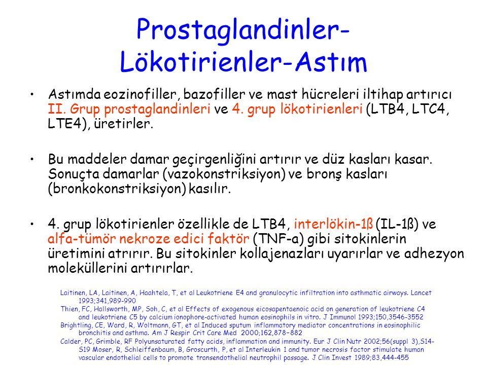 Prostaglandinler- Lökotirienler-Astım