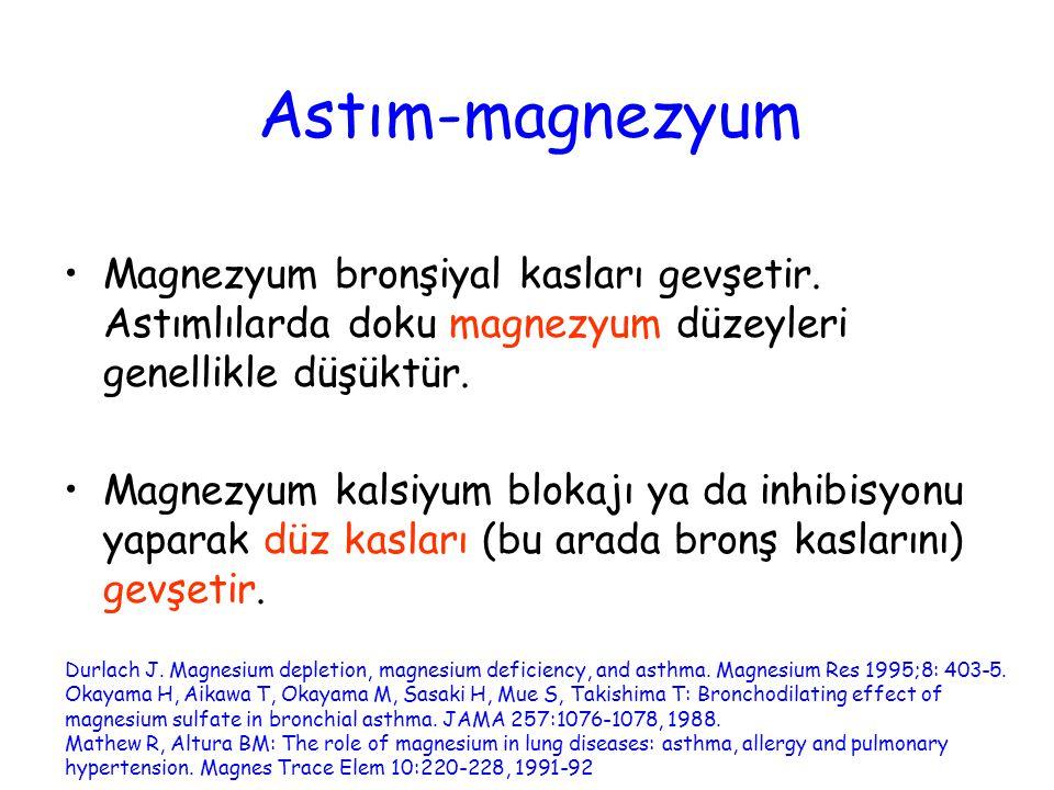 Astım-magnezyum Magnezyum bronşiyal kasları gevşetir. Astımlılarda doku magnezyum düzeyleri genellikle düşüktür.