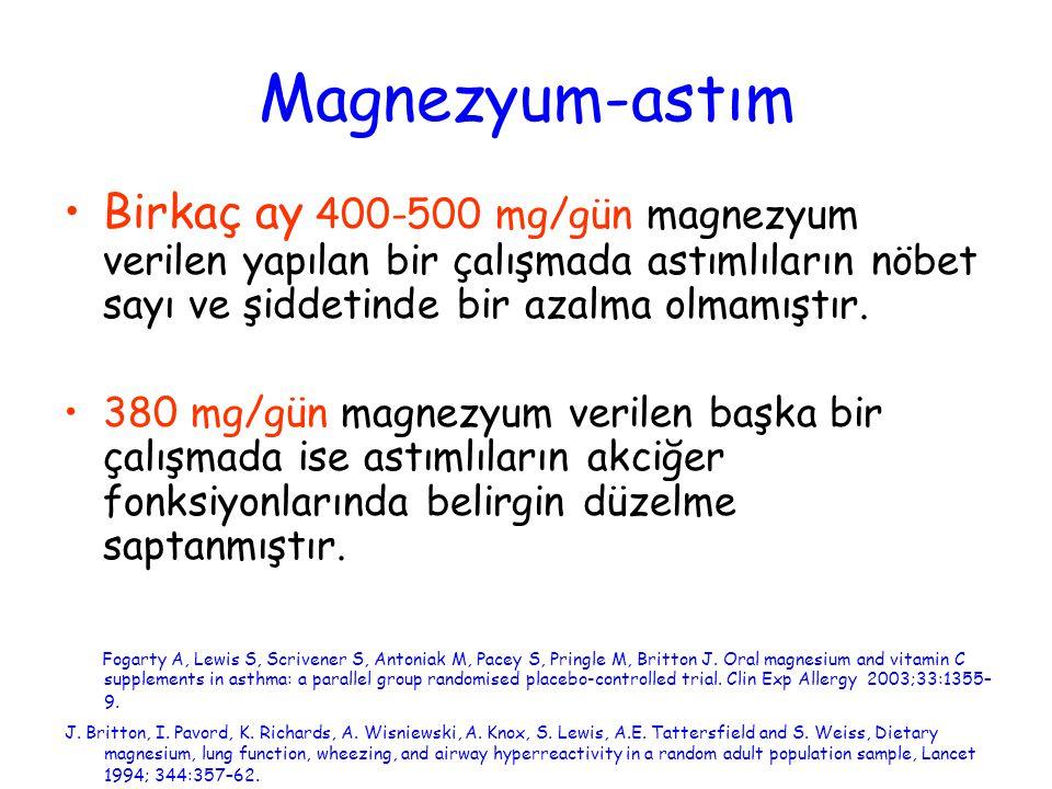 Magnezyum-astım Birkaç ay 400-500 mg/gün magnezyum verilen yapılan bir çalışmada astımlıların nöbet sayı ve şiddetinde bir azalma olmamıştır.
