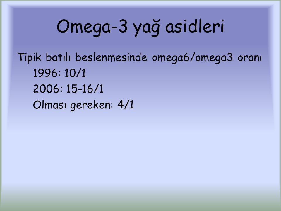 Omega-3 yağ asidleri Tipik batılı beslenmesinde omega6/omega3 oranı