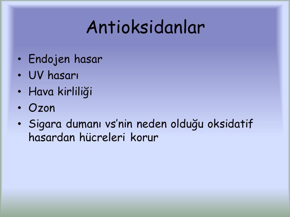 Antioksidanlar Endojen hasar UV hasarı Hava kirliliği Ozon