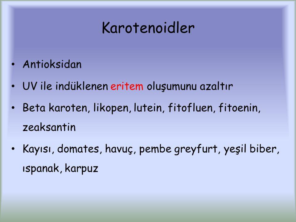 Karotenoidler Antioksidan UV ile indüklenen eritem oluşumunu azaltır