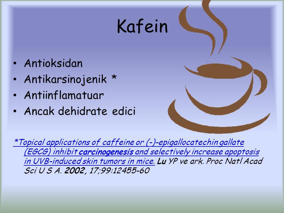 Kafein Antioksidan Antikarsinojenik * Antiinflamatuar
