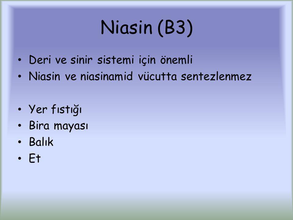 Niasin (B3) Deri ve sinir sistemi için önemli