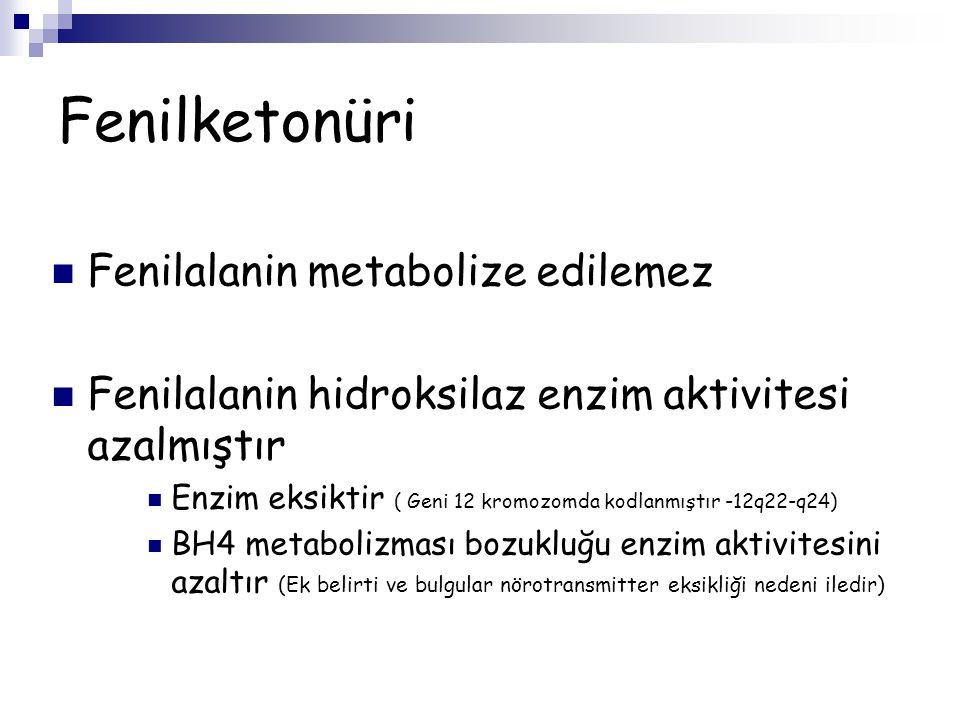 Fenilketonüri Fenilalanin metabolize edilemez