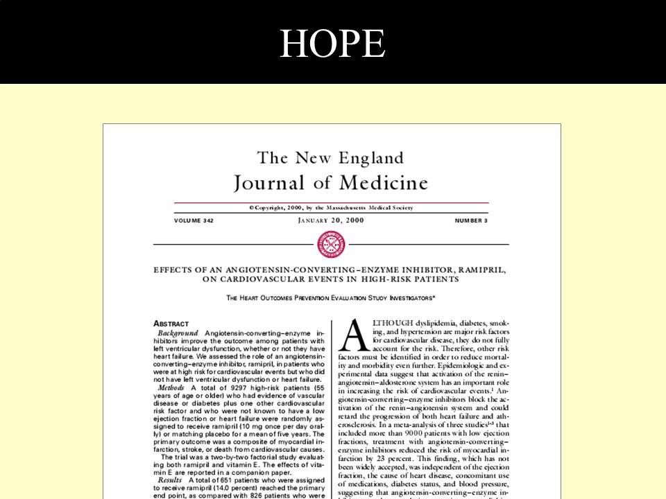 HOPE ACE inhibitör katkısının sonuçlara etkinin araştırıldığı bir büyük çalışma HOPE çalışmasıdır.