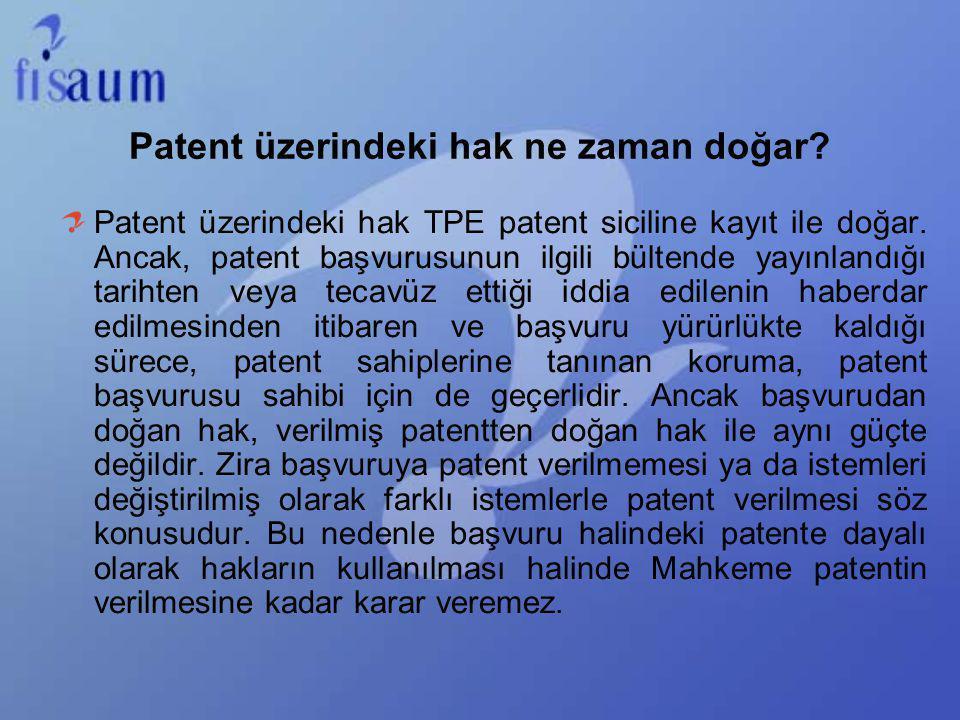 Patent üzerindeki hak ne zaman doğar