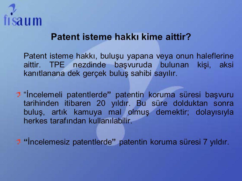 Patent isteme hakkı kime aittir