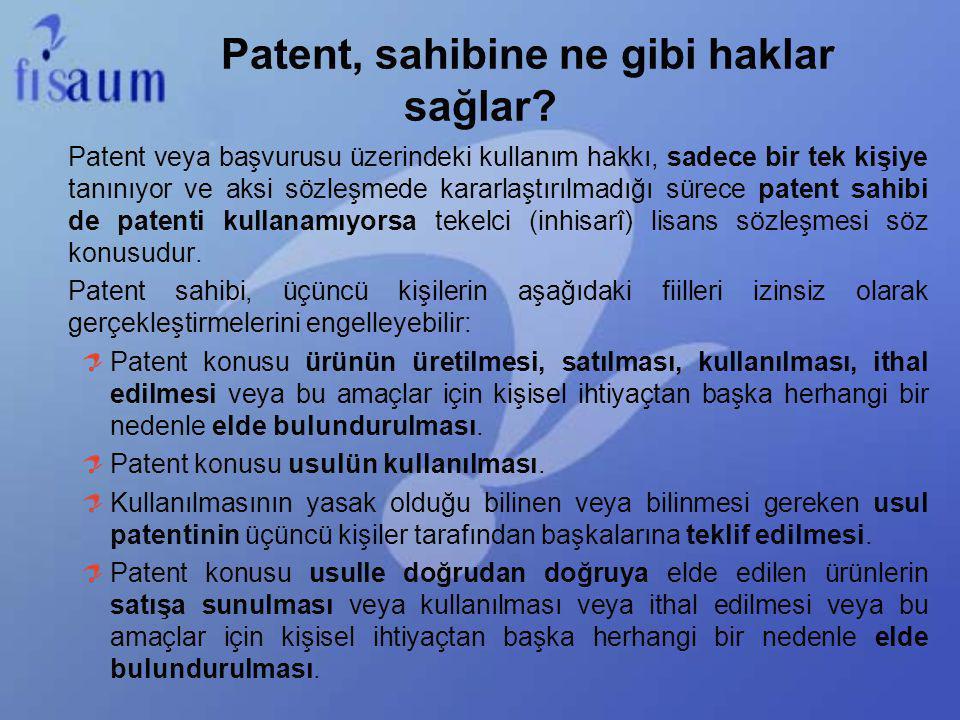 Patent, sahibine ne gibi haklar sağlar