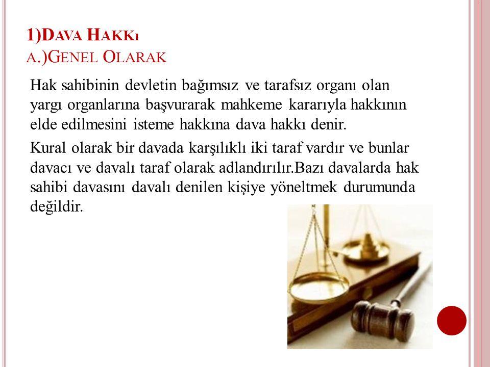 1)Dava Hakkı a.)Genel Olarak
