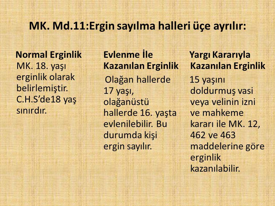 MK. Md.11:Ergin sayılma halleri üçe ayrılır: