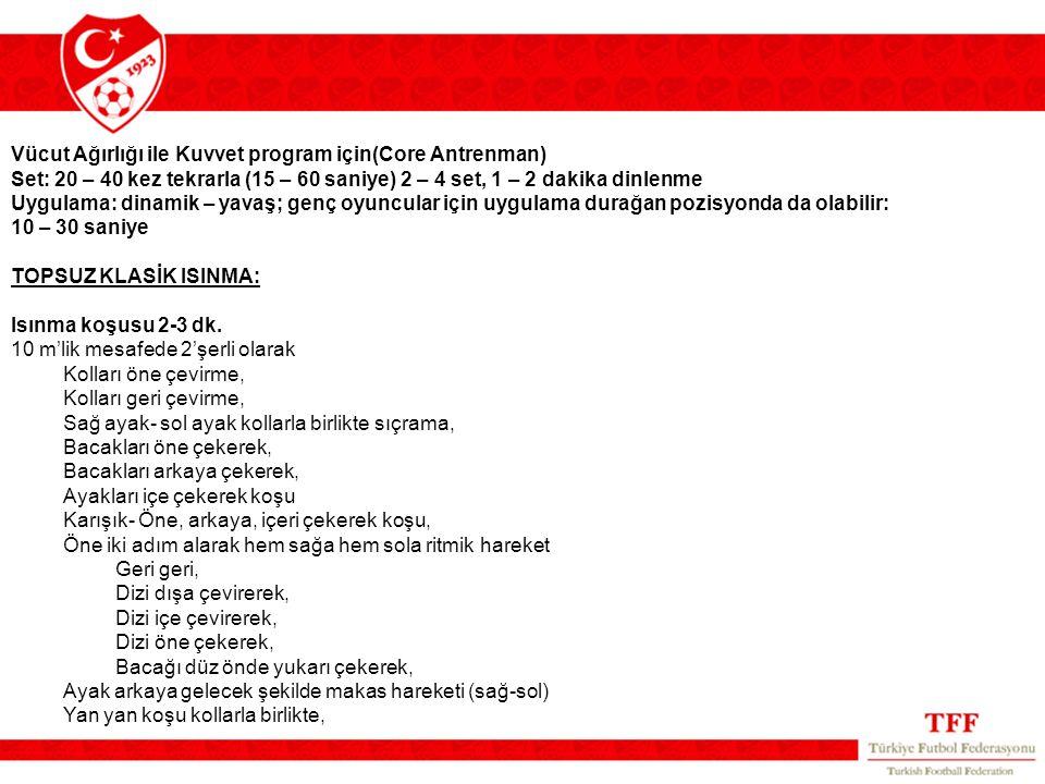 Vücut Ağırlığı ile Kuvvet program için(Core Antrenman)